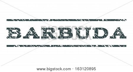 Barbuda watermark stamp. Text tag between horizontal parallel lines with grunge design style. Rubber seal stamp with dust texture. Vector soft blue color ink imprint on a white background.