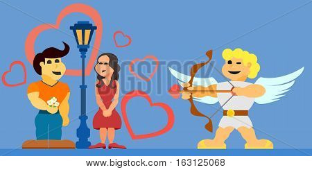 lovers amorous in lovecupid flying angel with a bow vector flat icons
