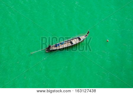 Top view thai longtail boat Andaman Sea Thailand