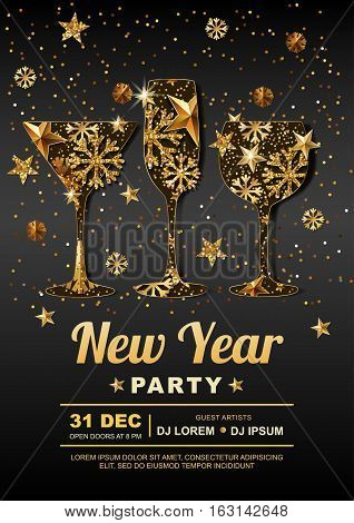 New Year Party Vector Poster Design Template With. Golden Stars, Snowflakes In Gold Drinking Glass.