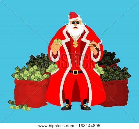Cool Santa And Red Bag With Money. Claus After Work. Pocketful Of Cash. Earnings For Christmas. Rich
