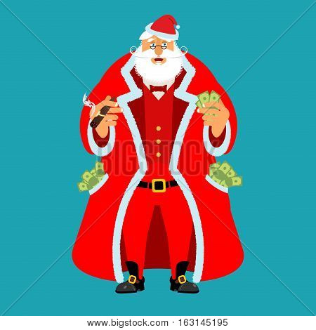 Rich Santa Claus And Lot Of Money. Pocketful Of Cash. Earnings For Christmas. Cool Old Man After Wor