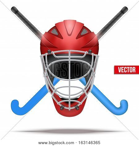 Hockey Field symbol with helmet with sticks. Hockey on grass. Vector Illustration isolated on white background.