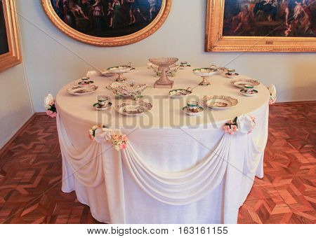 Gatchina, Russia - 3 December, Small decorated table, 3 December, 2016. Visit the Museum Reserve Gatchina Palace.