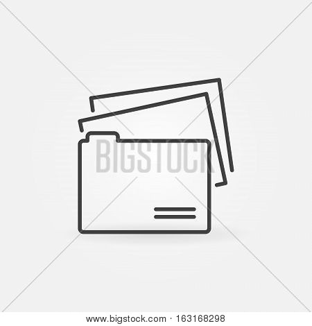 Folder line icon. Vector file folder with documents concept symbol or logo element in thin line style