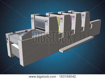 Modern Four Colors Printing Press