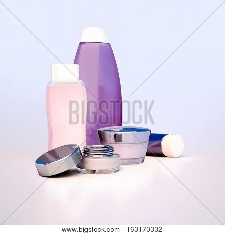 Set of cosmetic cream. Daily beauty care cosmetic. 3D illustration