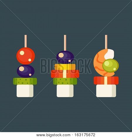 Set kinds of festive snacks canapes prepared isolated sandwich meat dish. Fresh banquet meal gourmet bread party delicious vector. Tasty restaurant catering.