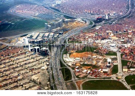 Nice view of Istanbul from the plane, Turkey