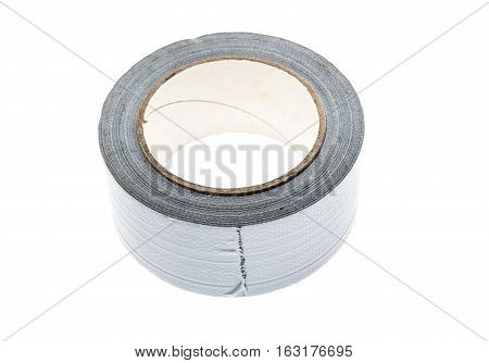 Silver Duct Gaffer Repair Tape Roll Isolated On White.