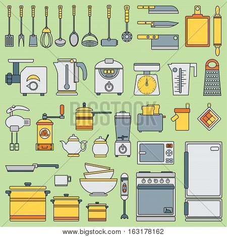 Line flat vector kitchenware icons set. Cutlery tools. Cartoon style. Illustration, element for your design. Equipment for food preparation. Kitchen. Household. Cooking. Cook. Collection.