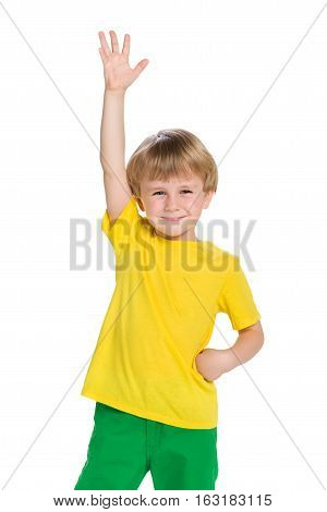 Happy Little Boy Against The White