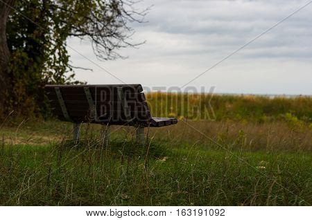 bench near the beach overlooking Michigan's lake Huron.