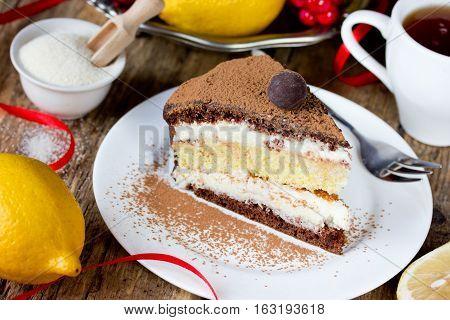 Chocolate lemon semolina cake homemade layer cake with semolina citrus cream delicious dessert