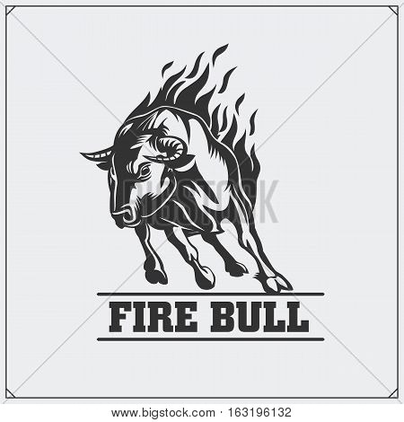 Raging bull. Vector emblem, label and badge.