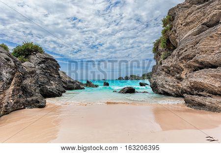 Landscape of Ocean rock and beach in Horseshoe Bay Southampton Parish Bermuda