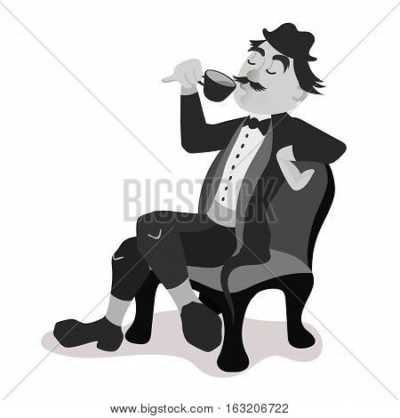 Englishman drinking tea from a little teacup and extend his pinky finger. Black and white isolated vector illustration.