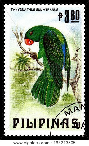 STAVROPOL RUSSIA - December 11 2016: A stamp printed by Philipines shows bird an Blue-backed parrot (Tanygnathus Sumatranus) circa 1984