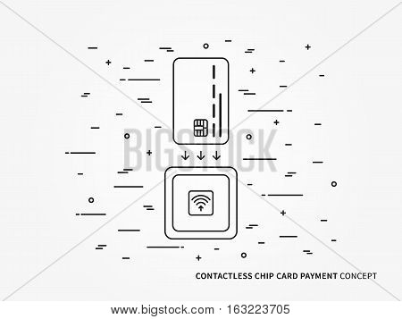 EMV chip card square contactless reader vector linear illustration. Secure transaction emv chip card creative concept. Emv card wireless payment money transfer technology graphic design.