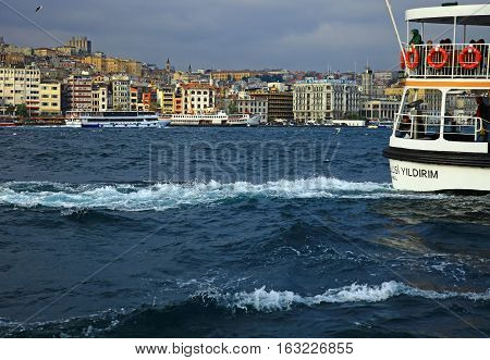 ISTANBUL TURKEY - 03 NOVEMBER 2013: View of the Golden Horn Istanbul. Turkey.