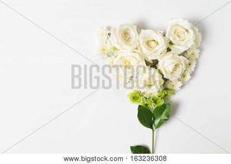 Fresh White Rose Flower On White Background