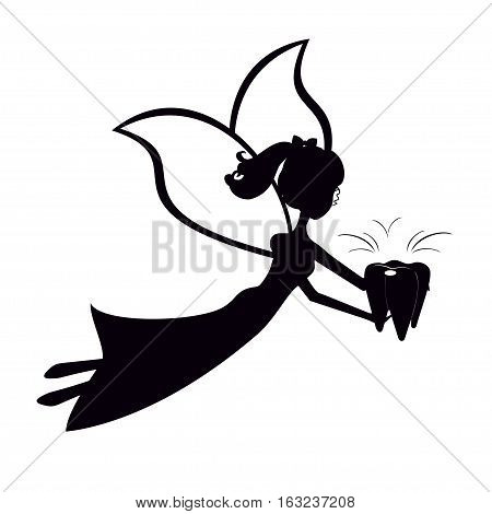 Black silhouette fairy flying with tooth. Stencil tooth fairy children vector illustration.
