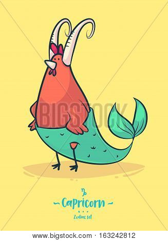 Zodiac sign Capricorn. Rooster with fish tail. Zodiac greeting card background poster. Vector illustration. Horoscope Sign