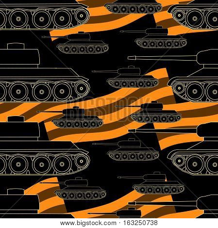 Seamless Pattern Tanks Victory Celebration Defender Of The Fatherland Day Vector Illustration
