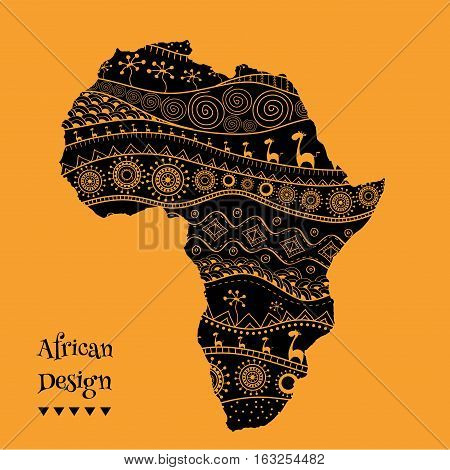 Textured vector map of Africa. Hand-drawn ethno pattern, tribal background. Vector
