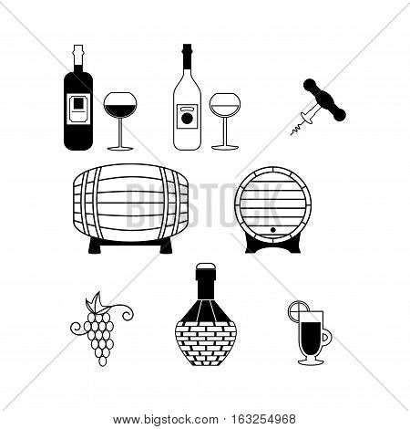 Set of Vector Icons Related to Wine