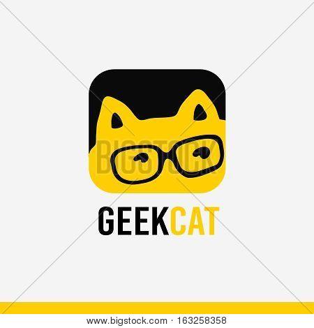 Logo geek concept, cartoon stylized kitty with eye glasses, identity, symbol, icon. The vector illustration isolated on white background,
