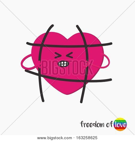 LGBT symbol, patch heart, that breaks the bars imprisoned.Message the freedom of love.Vector illustration isolated on white background.sticker, pin, icon, sign, patch in cartoon 80s-90s comic style