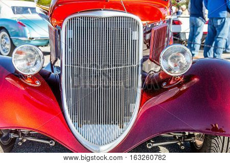 ATLANTA GEORGIA - July 3 2016: Caffeine and Octane is a nationally recognized car show held monthly displaying hundreds of classic and muscle cars at Perimeter Mall.