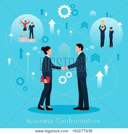 Constructive business confrontation for productive partnership concept flat symbolic composition poster with agreement handshake vector illustration