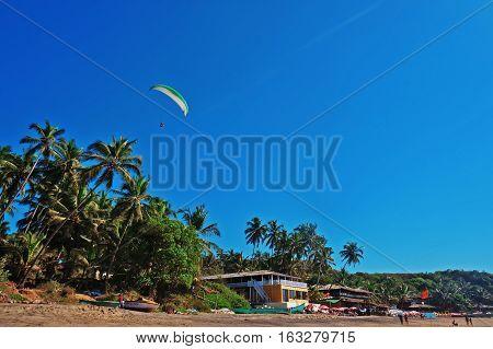 Parasailing extreme sports on kata beach goa