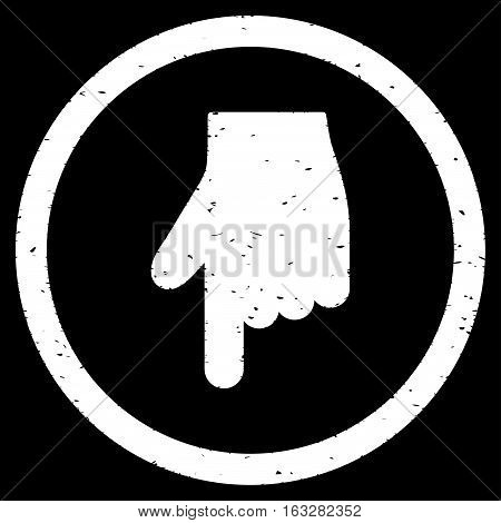 Index Finger Down Direction rubber seal stamp watermark. Icon vector symbol with grunge design and unclean texture. Scratched white ink sign on a black background.