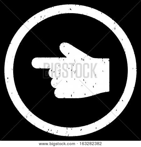 Index Finger Left Direction rubber seal stamp watermark. Icon vector symbol with grunge design and dust texture. Scratched white ink sign on a black background.