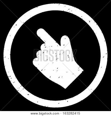 Index Finger Left Up Direction rubber seal stamp watermark. Icon vector symbol with grunge design and unclean texture. Scratched white ink sign on a black background.