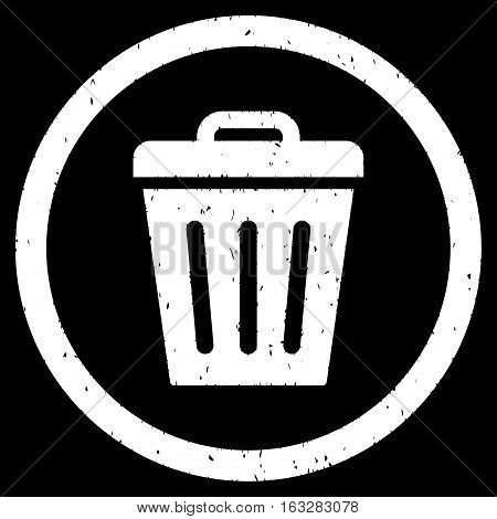 Trash Can rubber seal stamp watermark. Icon vector symbol with grunge design and dust texture. Scratched white ink sign on a black background.