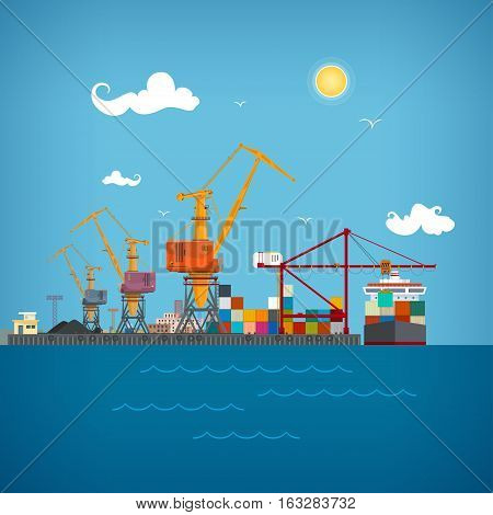 Sea port unloading of cargo containers from the container carriercranes load containers on the container ship or unload sea freight transportation