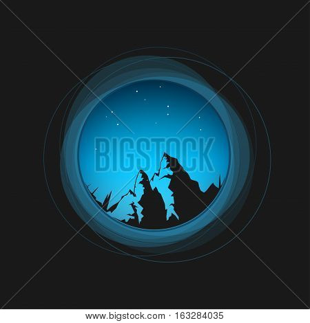 Silhouette of the mountains in a circle, a view through the eyepiece at the night sky and the mountains