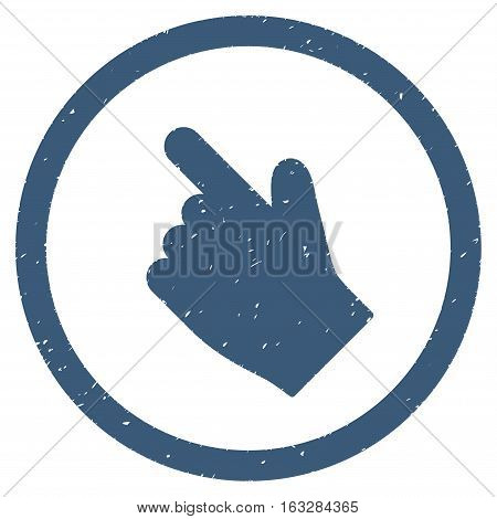 Index Finger Left Up Direction rubber seal stamp watermark. Icon vector symbol with grunge design and unclean texture. Scratched blue ink sticker on a white background.