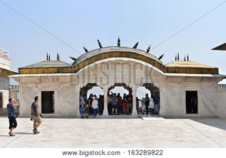 Agra, India - October 11, 2016: Agra Red Fort: Palanquin-shaped quarters/pavilions of Shah Jahan's daughter. Jahanara`s Palace Roshan Ara Pavilion inside Agra Fort. A UNESCO World Heritage site and one of the biggest tourist highlights in Agra, India.