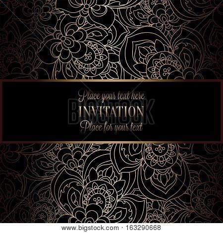Abstract Background With Antique, Luxury Black And Gold Vintage Frame, Victorian Banner, Roses Flora