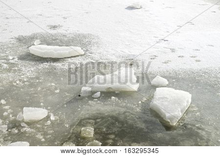 Pieces of thick ice over frozen lake in sunny day