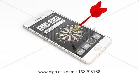 3D Rendering Dart Aiming A Target On A Smartphone Screen