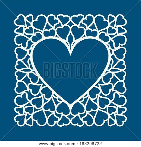Laser Cut Valentines Day Card With Hearts Cutting Template For Diy Greeting Cards Envelopes