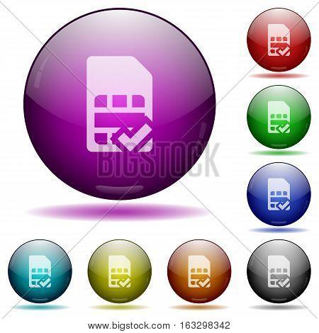 SIM card accepted icons in color glass sphere buttons with shadows