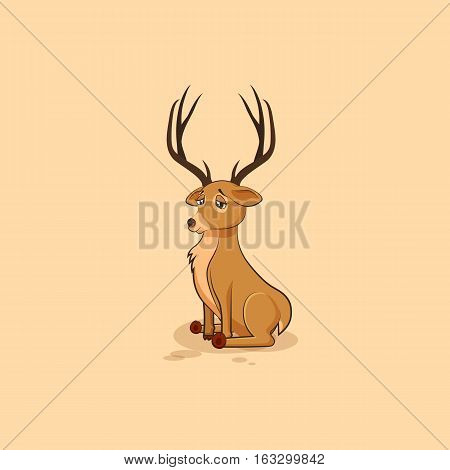 Vector Stock Illustration isolated emoji character cartoon deer sad and frustrated sticker emoticon for site, info graphics, video, animation, websites, e-mails, newsletters, reports, comics