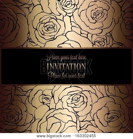Abstract Background With Roses, Luxury Black And Gold Vintage Frame, Victorian Banner, Damask Floral